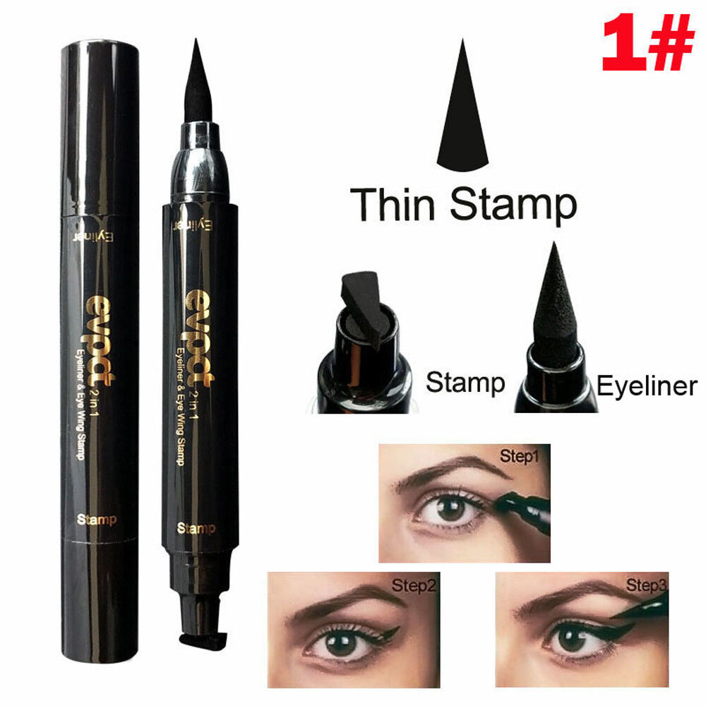 Winged Eyeliner Stamp Waterproof Makeup Eye Liner Pencil Black Liquid Cosmetic