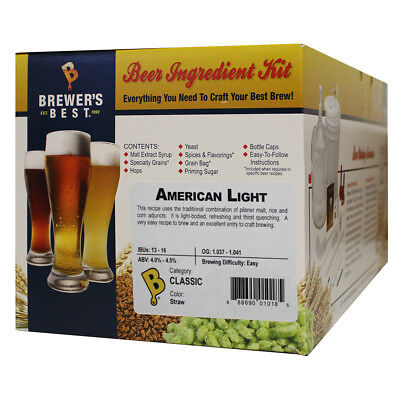 $34.00 - Brewers Best American Light Ingredient Kit for Home Brew Beer Making