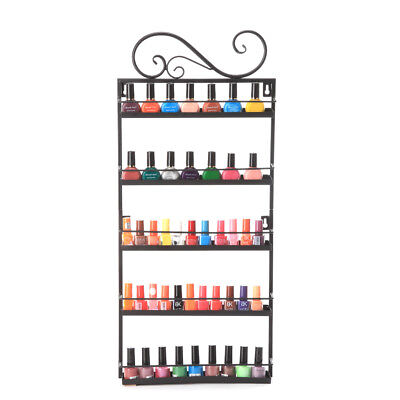 Dazone® 5 Tiers Metal Nail Polish Wall Rack Organizer Shelf Holds 50 Bottles USA for sale  Walnut