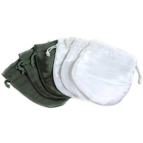 6-PAK_SATIN WHITE & GRAY-GREEN JEWELRY GIFT POUCHES