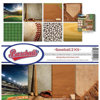 Scrapbooking Crafts 12X12 Paper Kit Baseball Stadium Home Plate Balls Bat (12x12 Paper Baseball)