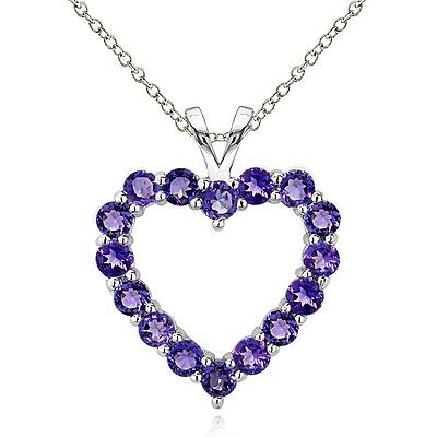 925 Sterling Silver 1.6 Ct African Amethyst Open Heart Necklace