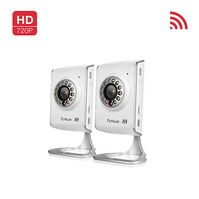Funlux® 2 720P HD Wireless WiFi IP Network IR CCTV Home Security Camera DIY Kit