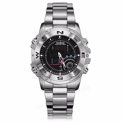 - Casio AMW705D-1A Stainless Steel Mens Moon Data Hunting Timer Thermometer Watch