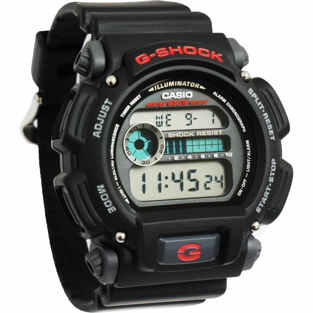 Mens Watches - CASIO DW9052-1V Mens Classic G-SHOCK Black Resin Digital Chronograph Sport Watch