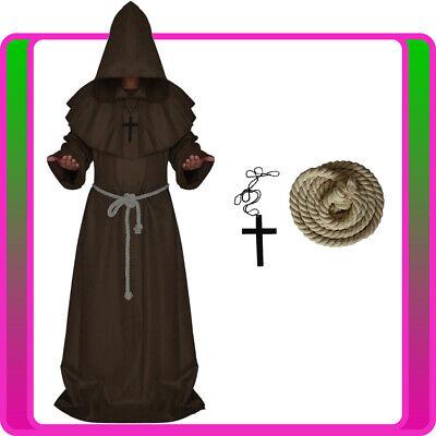 Mens Brown Monk Costume Medieval Friar Hooded Robe - Brown Robe