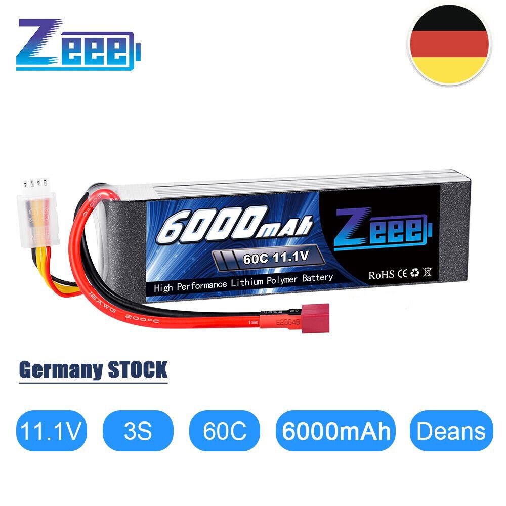 Zeee 3S LiPo Akku 11,1V 6000mAh 60C RC Batterie Deans T für RC Auto Boot Drohne