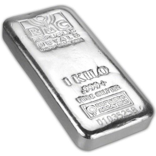Купить Kilo (32.15 oz.) RMC Silver Bar - Republic Metals Corp (Pour) .999+ w/Serial #