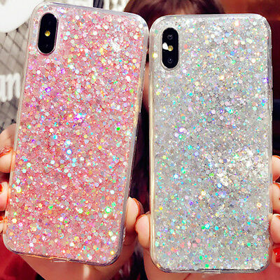 For iPhone 8 7 Plus XS MAX XR Girls Bling Glitter Sparkle Cute Phone Case Cover - Glitter For Girls