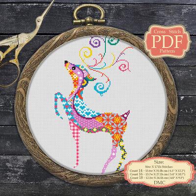 Christmas Deer - Mandala Cross stitch PDF Pattern - Zentangle animals - 051 ()