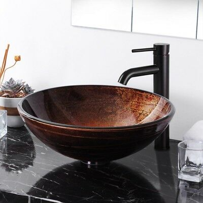 Tempered Glass Vessel Lavatory Sink (Artistic Tempered Glass Round Vessel Sink Bathroom Lavatory Bowl Basin Hotel)