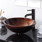 Artistic Tempered Glass Round Vessel Sink Bathroom Lavatory Bowl Basin Hotel Spa