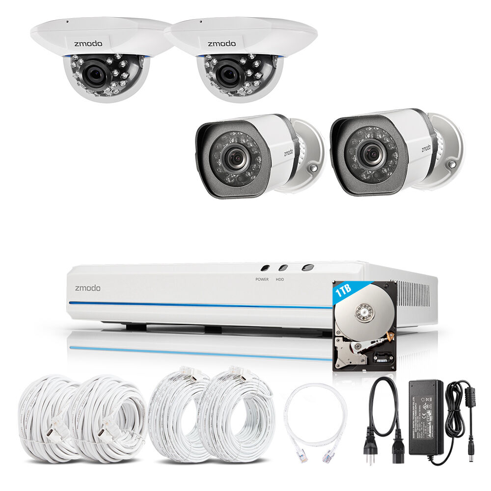 Купить Zmodo - Zmodo 8CH 1080p HDMI NVR w/ 4 720p IR-cut CCTV Camera Home Security System 1TB