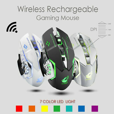 X8 Super Quiet Wireless Gaming Mouse LED Backlit USB Rechargeable Optical NEW