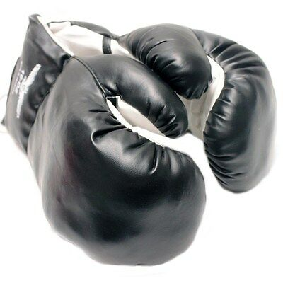 14 OZ BOXING PRACTICE TRAINING GLOVES MMA Sparring Punching Faux Leather Black