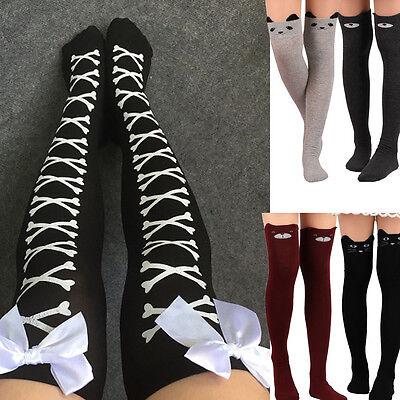 Womens Cat Catoon Boot Socks Long Socks Over Knee Thigh High Sock Stockings Lot - Cat Knee High Socks