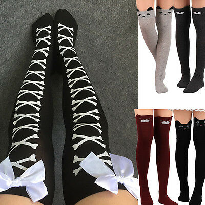 Womens Cat Catoon Boot Socks Long Socks Over Knee Thigh High Sock Stockings Lot