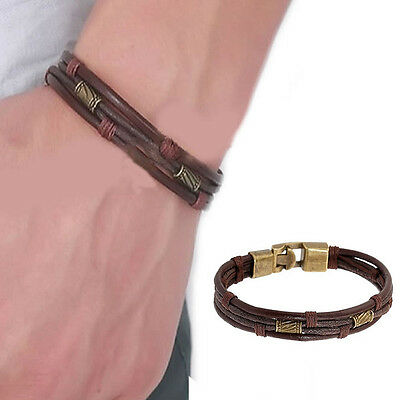 Mens Vintage Leather Wrist Band Brown Rope Bracelet Bangle Braided Cuff Vintage, Brown Leather Cuff Braided Bracelet