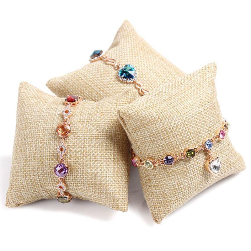 2pcs Practical Beige Linen Small Pillow For Bracelet Watch