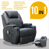 Electric Massage Recliner Sofa Chair Ergonomic Lounge Swivel Heated with Control