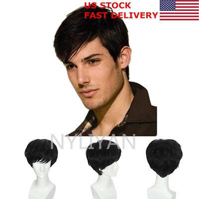 US Black Natural Men Human Hair Wigs Mens Short Hair Straight Layered Style Cos
