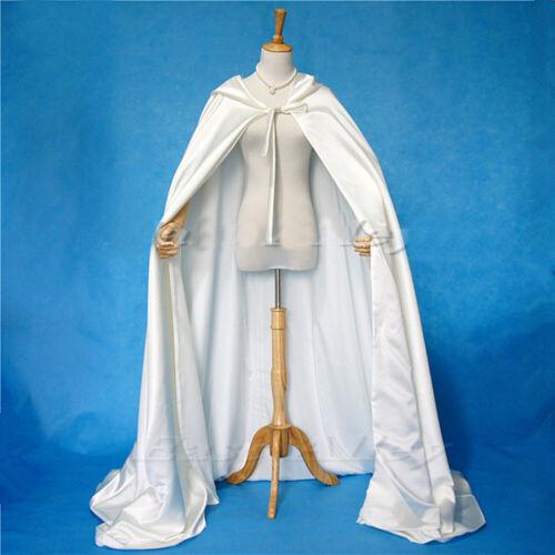 Ivory Cloak Hooded Satin Wedding Cloak Cape Costume Renaissance Medieval Clothes