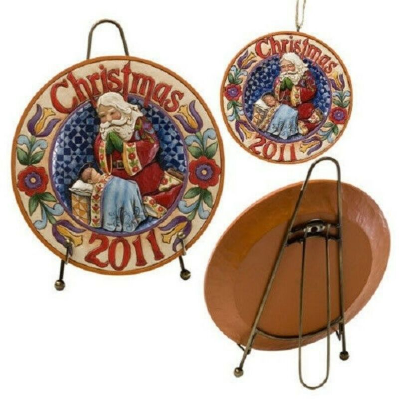"""JIM SHORE CHRISTMAS """"2011 DATED PLATE SET w/ ORNAMENT"""" #4026346 * FREE SHIPPING"""