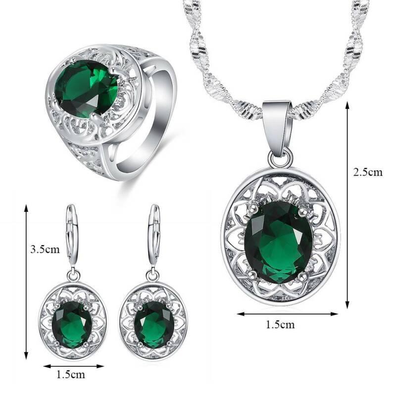 Women Jewelry Set 925 Silver Pendant Necklace Earrings Ring Wedding Gift