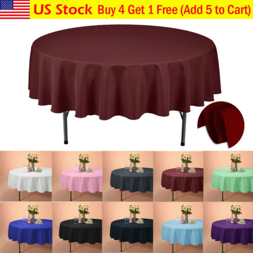 """VEEYOO 90"""" Round Tablecloth Linen Table Cover for Weddings P"""