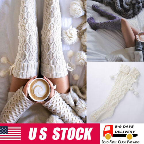 Women Cable Knitted High Over Knee Socks Warm Winter Long Socks Stockings Clothing, Shoes & Accessories