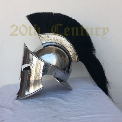 King Leonidas Spartan Greek Warrior Knight Helmet With Long BlackPlume Movie 300