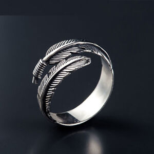 Trendy Silver Feather Open Rings For Women Ancient Style Plume Adjustable