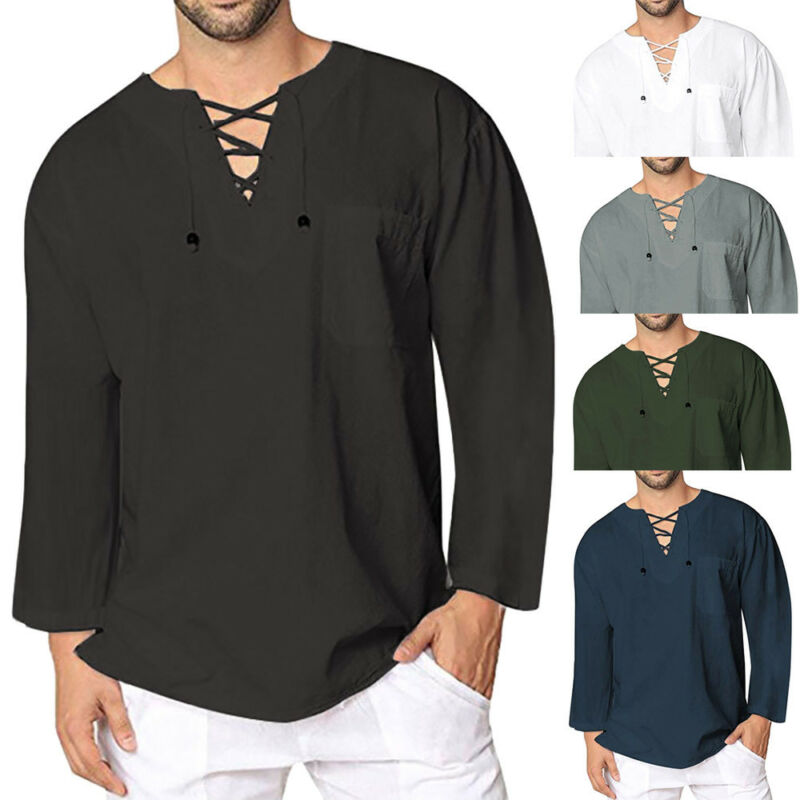 Men's Slim Fit V Neck Long Sleeve Linen Muscle Tee T-shirt Casual Tops Blouse