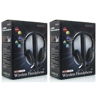 2X New 5 in 1 Wireless Headphone Earphone for MP3/MP4 PC TV CD FM Radio Black US (Cd Tv)