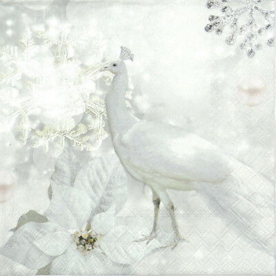 20x Lunch Paper Napkins Serviettes Party, Decoupage - White Peacock
