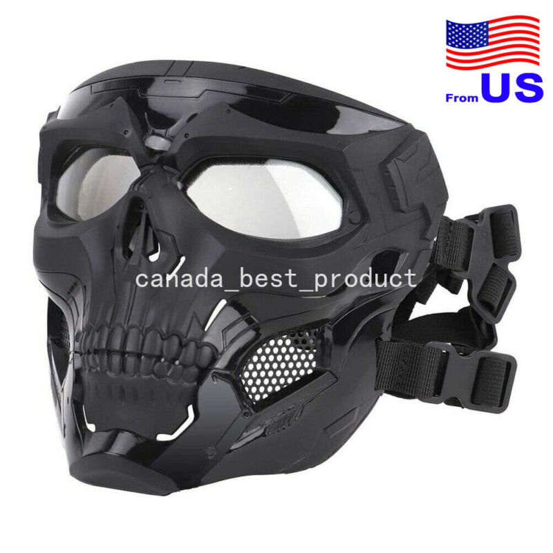 Airsoft Paintball Cosplay Halloween Adjustable Skull Full Face Mask BK USA
