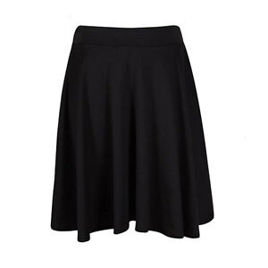 Ladies Womens Soft Stretch Knee Length Midi Full Flared Skater skirt Plus Size