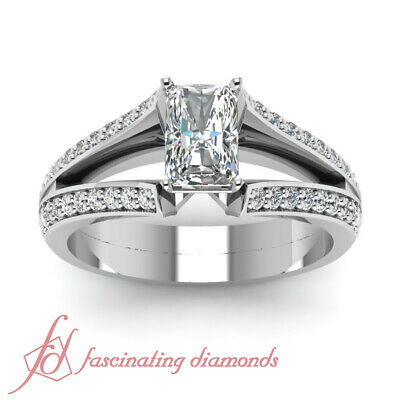 1.60 Ct Diamond Split Band Pave Set Ring With Radiant Cut And Round Accents GIA 1