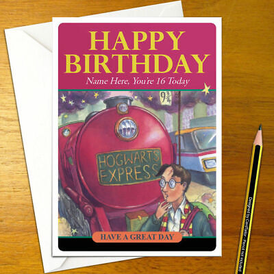 HARRY POTTER Personalised Birthday Card - wizard cover magic train personalized
