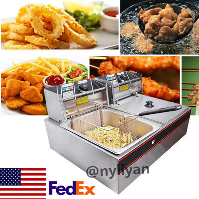 Ls-82 5kw 110v Electric Countertop Deep Fryer Dual Tank Steel Fish Chips Us