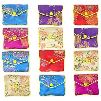 12pcs Jewelry Silk Purse Pouch Brocade Embroidered Bags Gift Bags Assorted Home