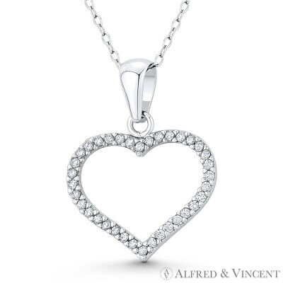 Open Heart CZ Crystal Love Charm .925 Sterling Silver & Rhodium Necklace Pendant