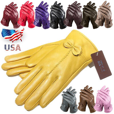 Women's Winter Warm Genuine Lambskin Leather Driving Soft Lining Gloves Red US - Red Gloves