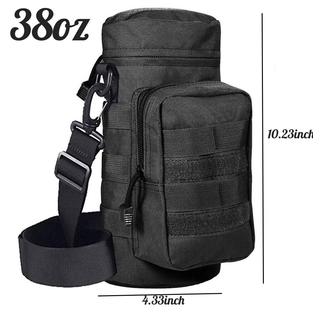 Military MOLLE Tactical Travel Water Bottle Kettle Pouch Carry Belt Waist Bag Hunting