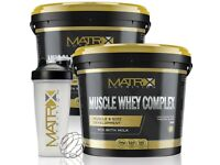 MUSCLE WHEY COMPLEX - PROTEIN SHAKE - ALL FLAVOURS ALL SIZES BY MATRIX NUTRITION + FREE SHAKER