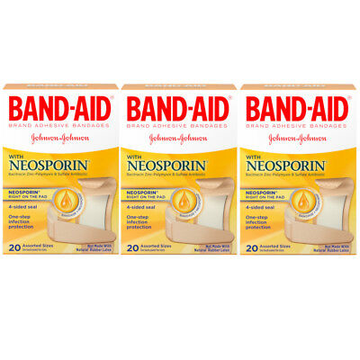 (3 Pack - BAND-AID Plus Neosporin Bandages Assorted Sizes 20 Each)