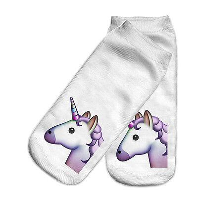 3D Print Mode Einhorn Socken Low Cut Knöchel Frauen Boot Socke Harajuku Emoji