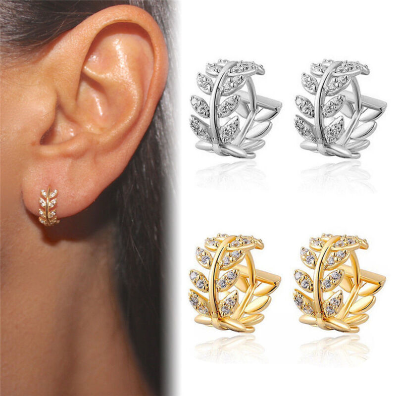 Fashion Small Leaves Hoop Earrings for Women Sliver Gold Col