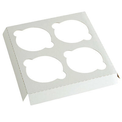 Pack Of 10 White Cupcake Insert Holds 4 Use With 8x8x4 Cake Bakery Box