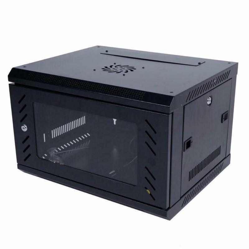 6U Wall Mount IT Network Equipment Server Cabinet Enclosure Rack Glass Door Lock